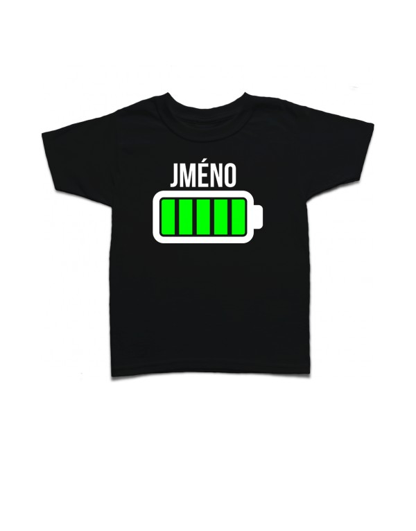 Dětské tričko baterie - vlastní text
