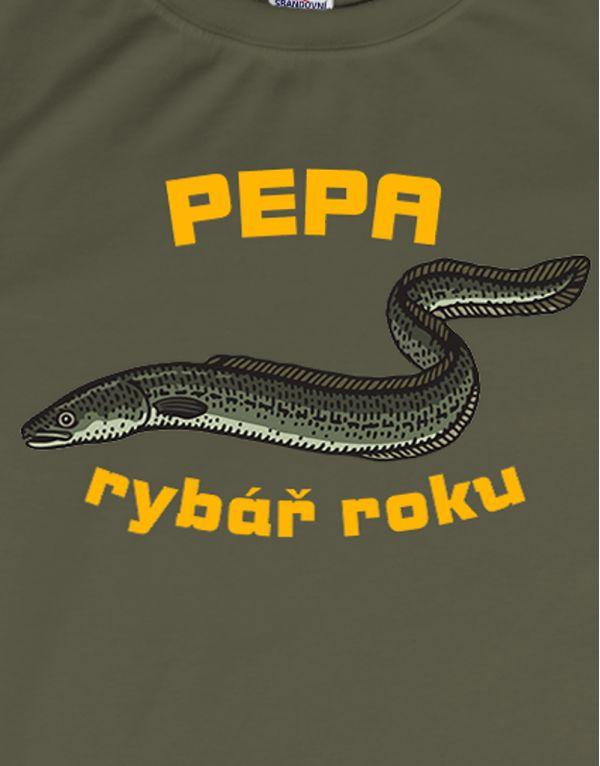 Tričko Rybář roku - úhoř - s vlastním jménem